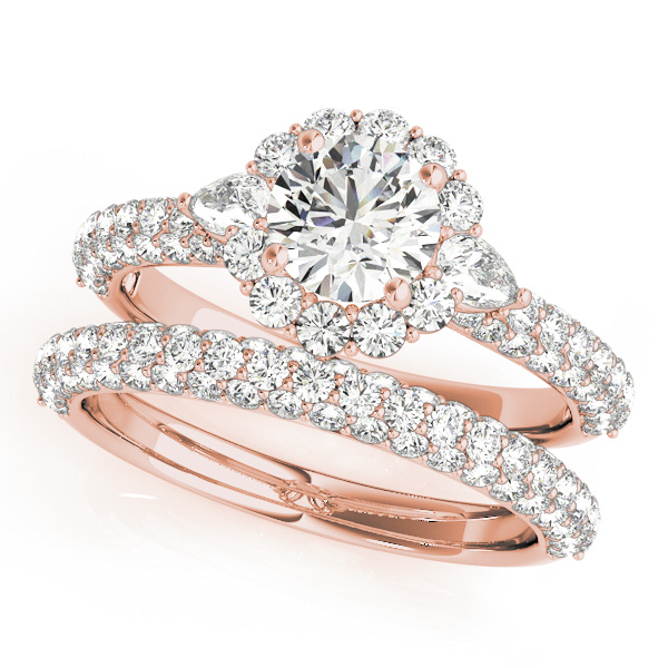Three Stone Pear Diamond Halo Etoil Bridal Set in Rose Gold