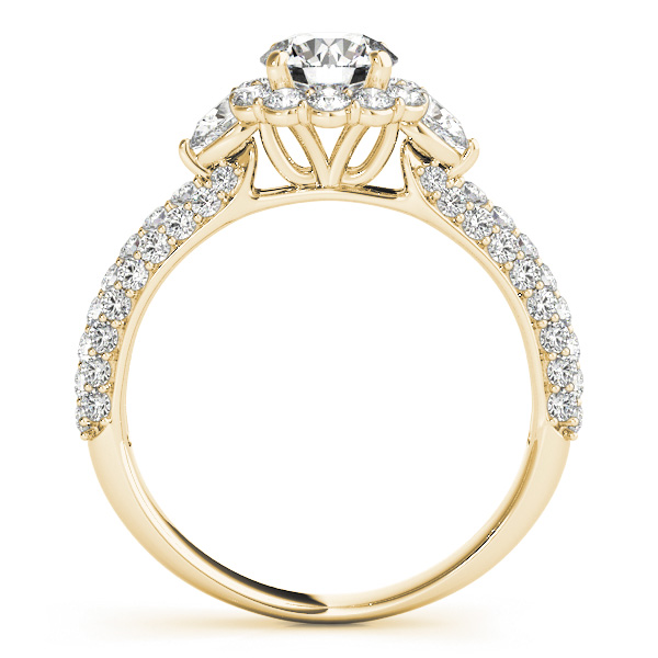 Three Stone Pear Diamond Halo Etoil Engagement Ring in Yellow Gold