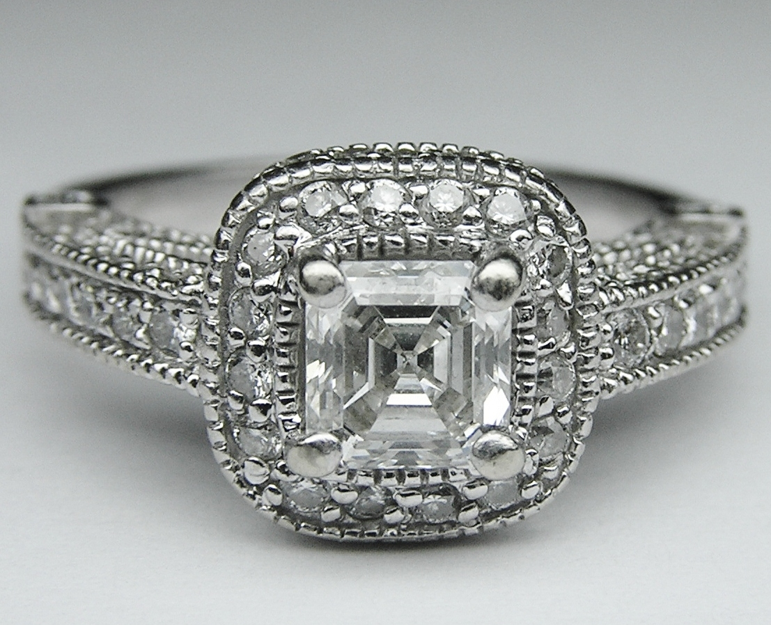 Engagement Ring Asscher Diamond legacy style Engagement Ring 0 96 tcw ES16