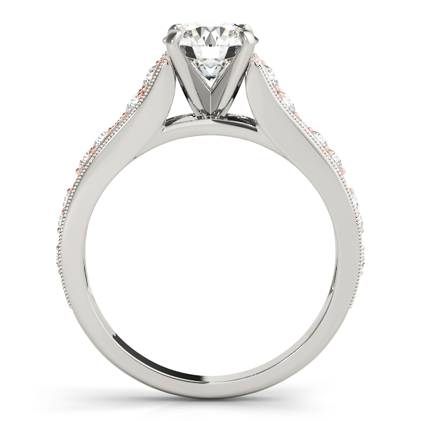 Infinity Two Tone Diamond Engagement Ring with Milligrain Edges