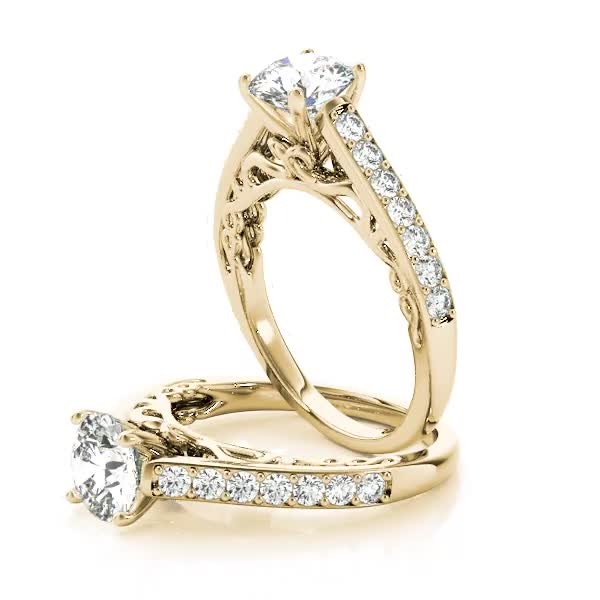 Cathedral Filigree Diamond Engagement Ring Yellow Gold