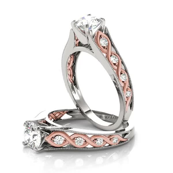 Infinity Diamond Engagement Ring, Two Tone
