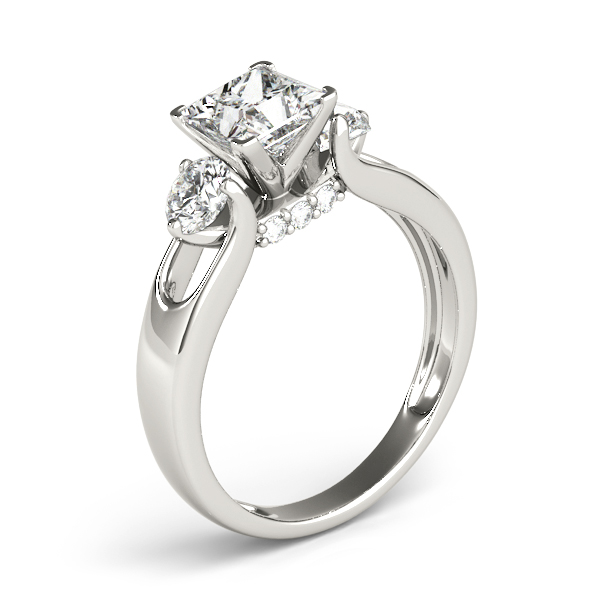 Princess Diamond Three Stone Trellis Engagement Ring
