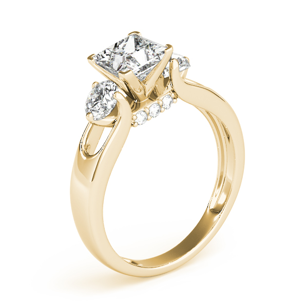 Princess Diamond Three Stone Engagement Ring in Yellow Gold