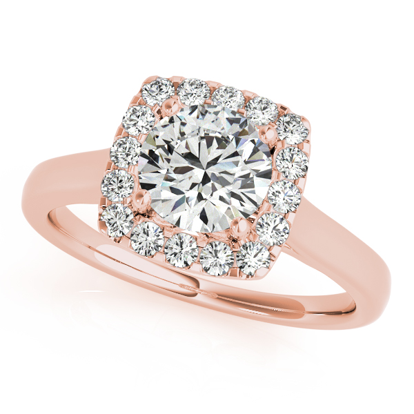 Engagement Ring Round Diamond In Square Halo Filigree Rose Gold ES1608RG