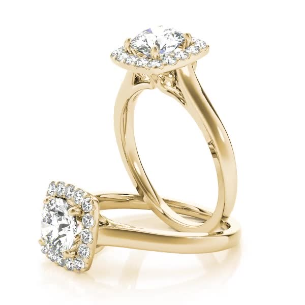 Round Diamond in Square Halo Filigree Engagement Ring Yellow Gold