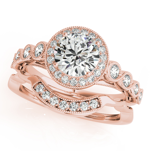 Journey Halo Diamond Infinity Bridal Set in Rose Gold