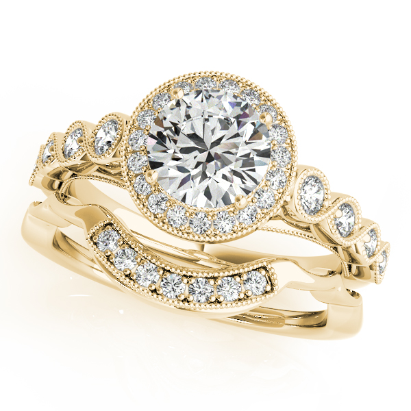 Journey Halo Diamond Infinity Bridal Set in Yellow Gold