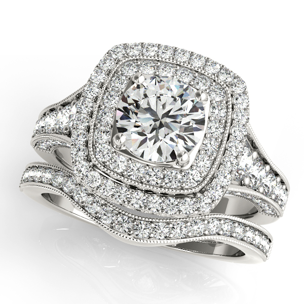Double Halo Vintage Style Journey Engagement Ring and Matching Band