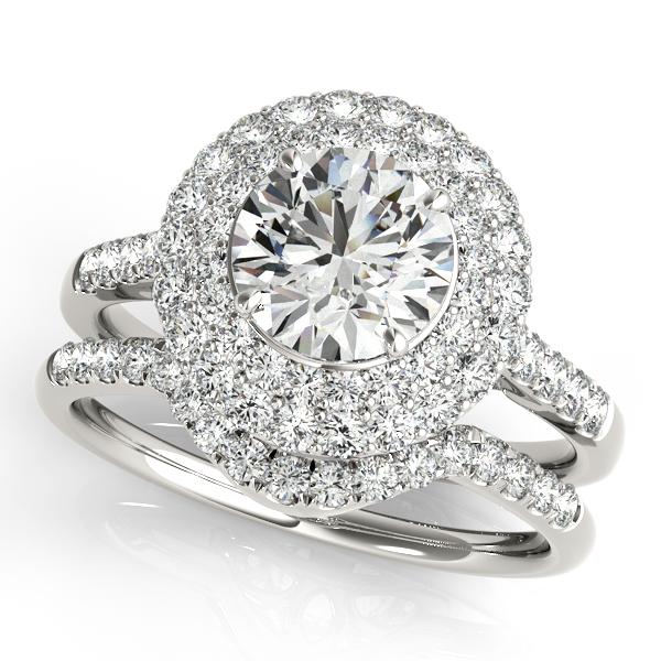 Double Halo Filigree Diamond Engagement Ring and Matching Band