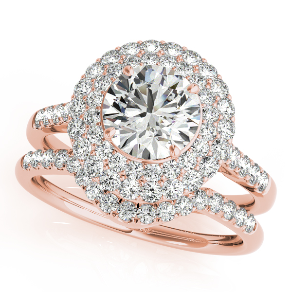 Double Halo Floral Filigree Diamond Bridal Set in Rose Gold
