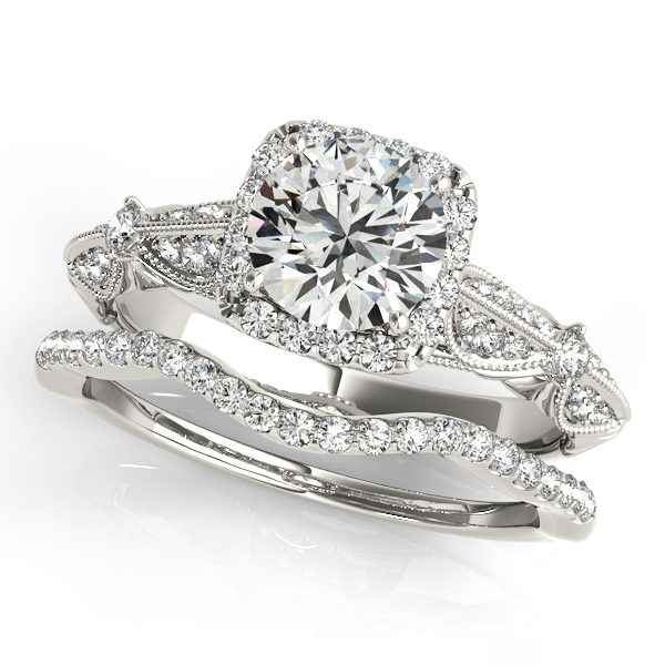 Vintage Style Halo Knife Edge Engagement Ring and Matching Band