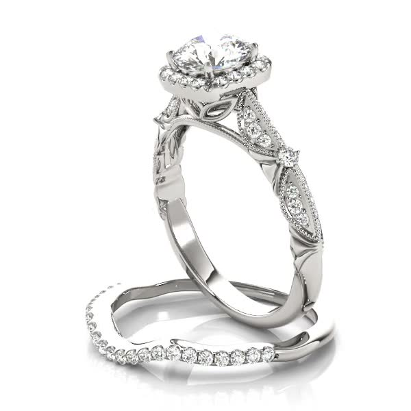 Engagement Ring -Vintage Style Halo Knife Edge Engagement