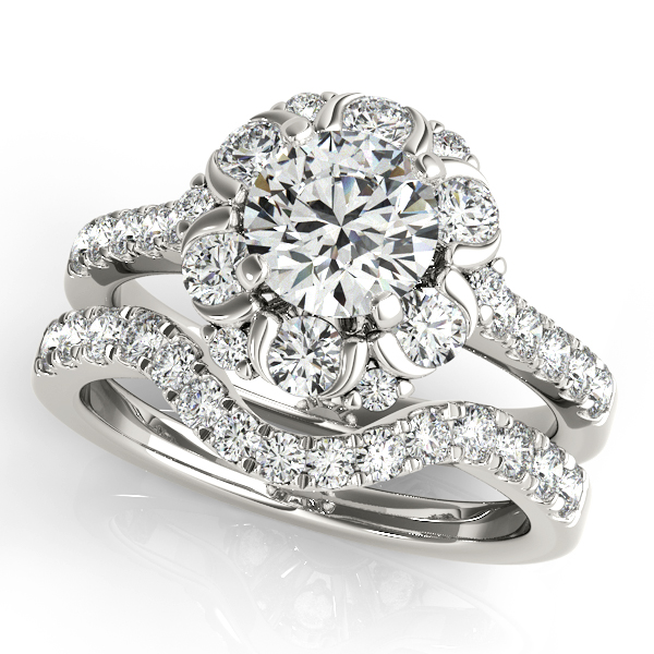 Crown Halo Engagement Ring and Matching Wedding Band