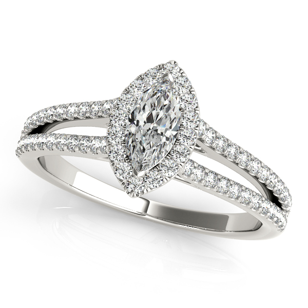 Marquise Diamond Split Band Halo Engagement Ring and Matching Band