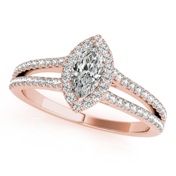 Marquise Diamond Filigree Split Band Halo Bridal Set in Rose Gold