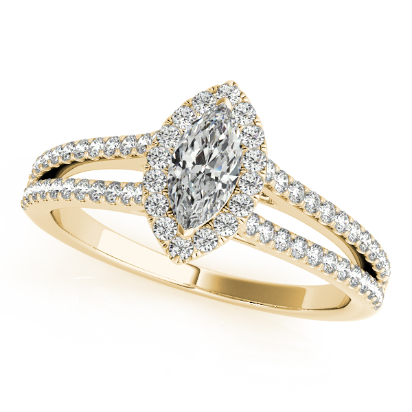 Marquise Diamond Split Band Halo Bridal Set in Yellow Gold