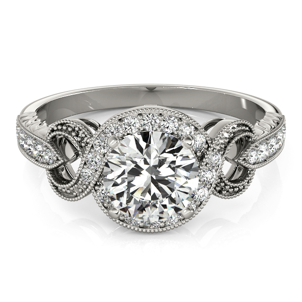 Intertwined Diamond Infinity Halo Engagement Ring