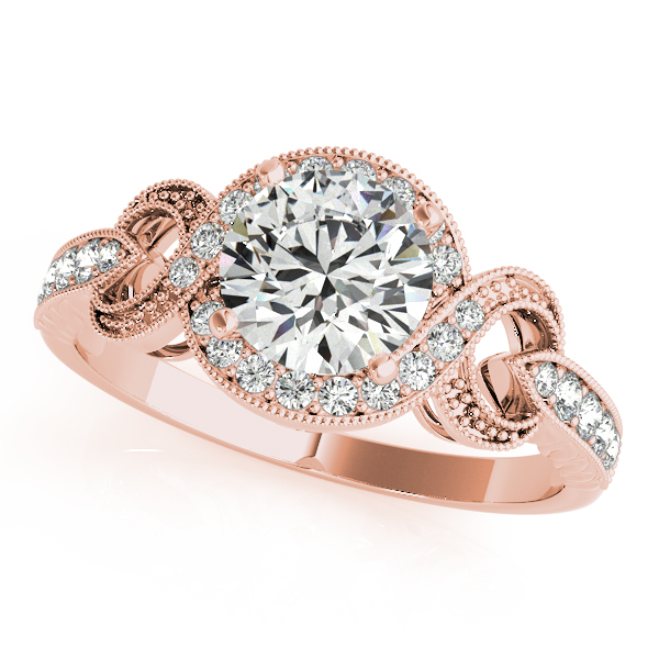 Intertwined Infinity Halo Engagement Ring in Rose Gold