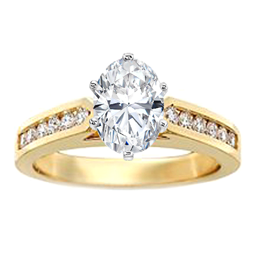 Tapered Cathedral Engagement Ring setting with Channel-Set  Diamond band 0.48 in 14K Yellow Gold