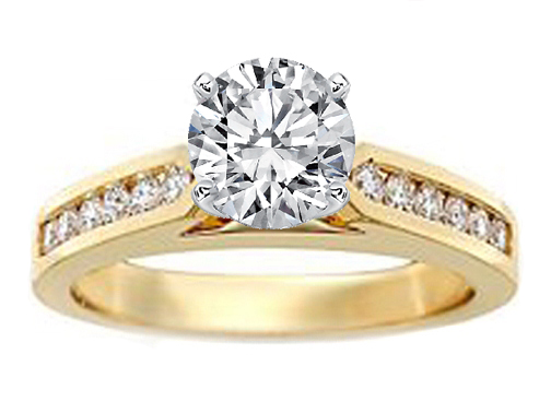 Tapered Cathedral Engagement Ring Diamond  Band 0.3 in 14K Yellow Gold