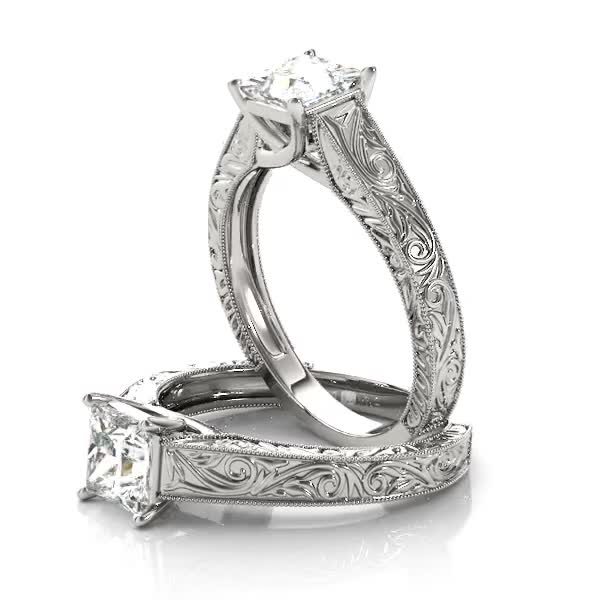 Engraved Trellis Princess Solitaire Engagement Ring