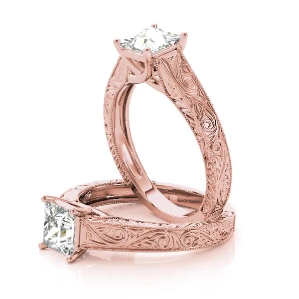 Engraved Trellis Princess Solitaire Bridal Set in Rose Gold