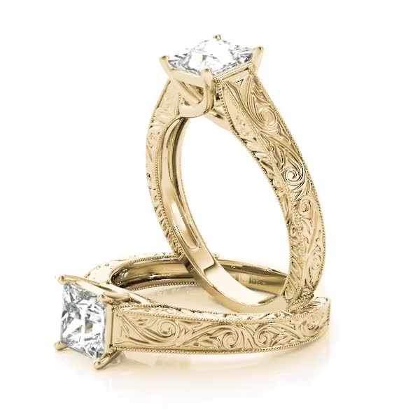 Engraved Trellis Princess Solitaire Engagement Ring Yellow Gold