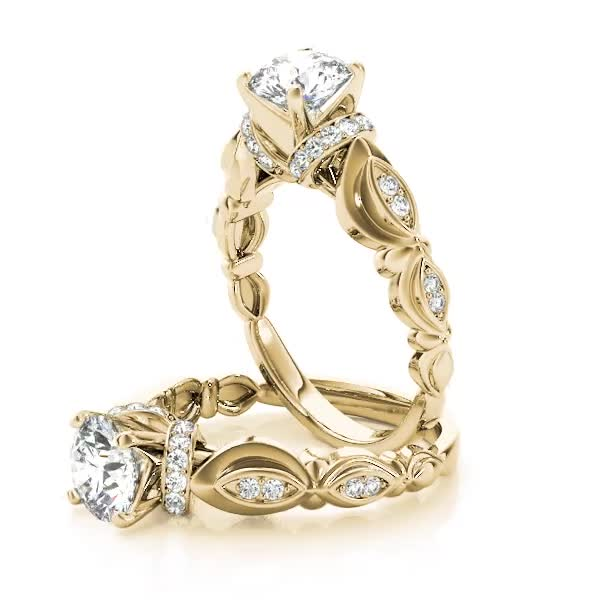 Vintage Style Diamond Swing Engagement Ring Yellow Gold
