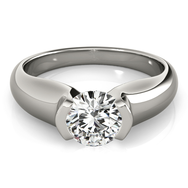 Semi-Bezel Set Solitaire Diamond Engagement Ring