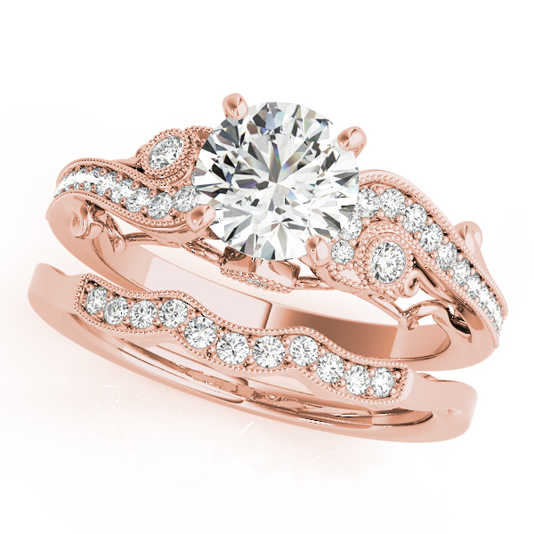Vintage Swirl Diamond Vine Engagement Ring with Filigree & Matching Wedding Band in Rose Gold