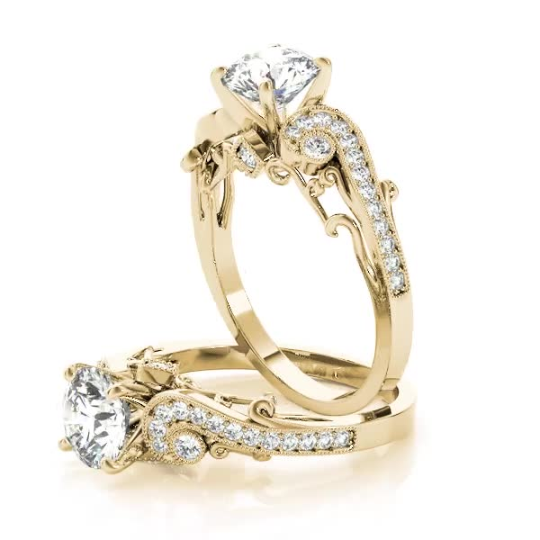Vintage Swirl Diamond Vine Engagement Ring with Filigree Yellow Gold