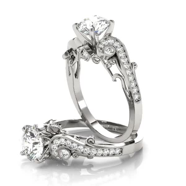 Vintage Swirl Diamond Vine Engagement Ring with Filigree