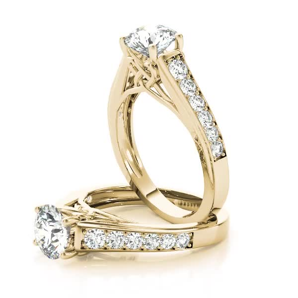 Graduated Cathedral Knot Diamond Engagement Ring in Yellow Gold