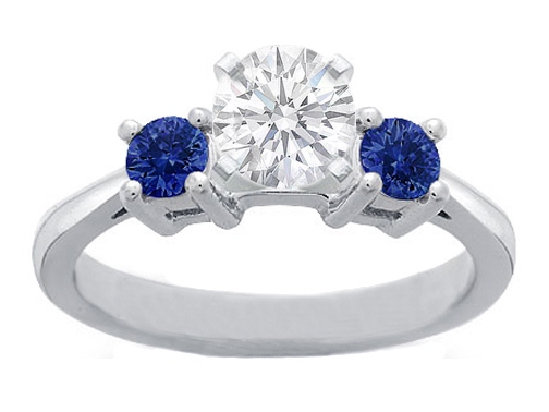 Diamond Engagement Ring with Round Blue Sapphires side stones 0.20 tcw. In 14K White Gold