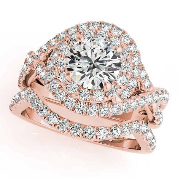 Double Halo Diamond Intertwined Engagement Ring & Wedding Band in Rose Gold