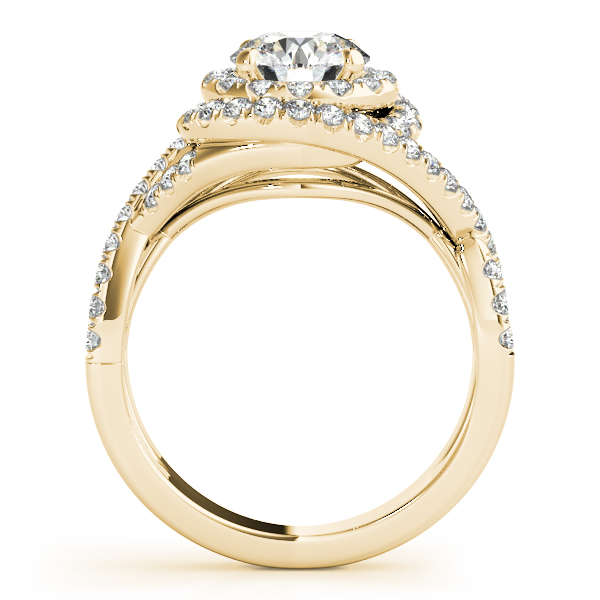 Double Halo Diamond Intertwined Engagement Ring & Wedding Band in Yellow Gold