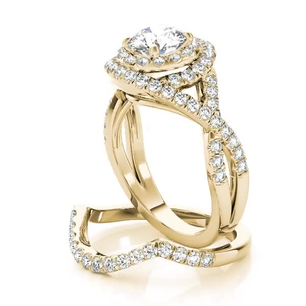 Double Halo Diamond Intertwined Engagement Ring & Wedding Band Yellow Gold