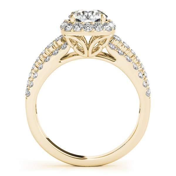 Halo Diamond Triple Row Split Band Bridal Set with Butterfly Filigree in Yellow Gold