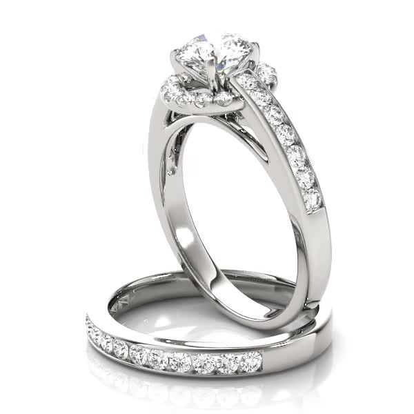 Cathedral Channel Set Halo Diamond Engagement Ring and Matching Band