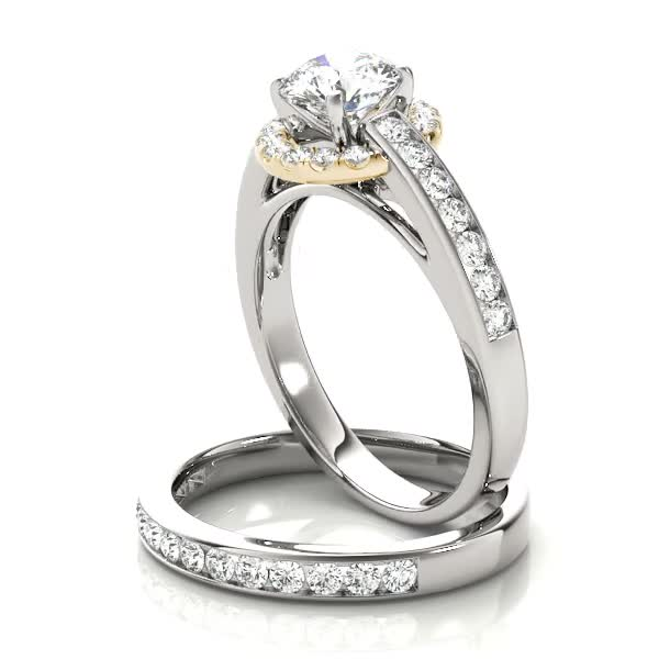 White Gold Cathedral Channel Set Yellow Halo Diamond Bridal Set