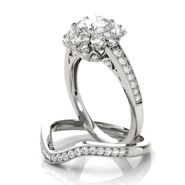 Crown Halo Diamond Journey Engagement Ring and Matching Band