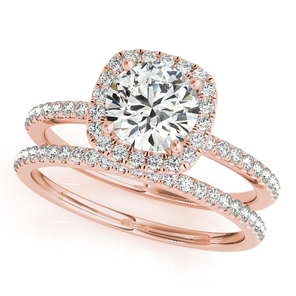 Engagement Ring Petite Square Halo Diamond Bridal Set in Rose Gold ES1658RGBS