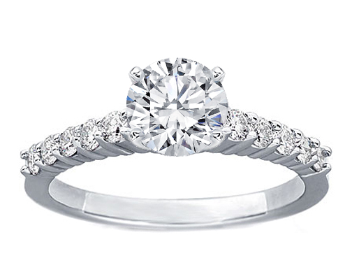 Diamond Engagement Ring Ten Stone diamond band 0.3 tcw. In 14K White Gold