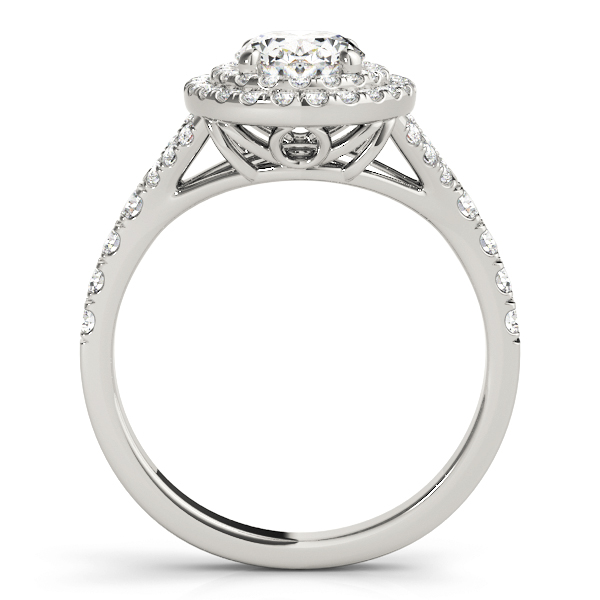 Oval Double Diamond Halo Engagement Ring