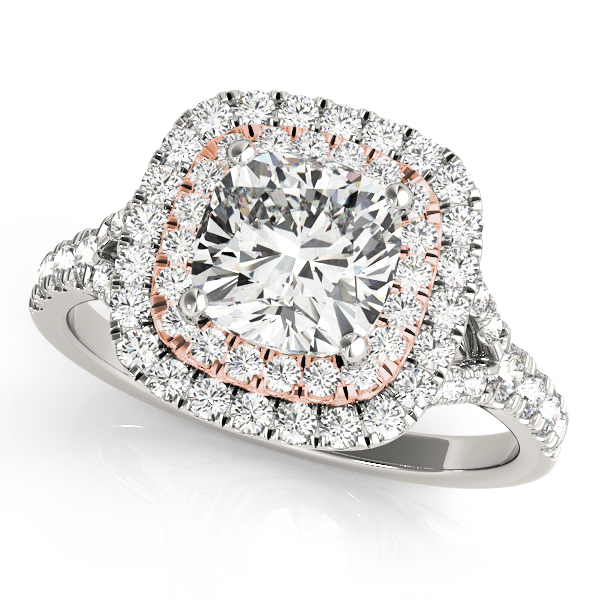 Two Tone Cushion Double Diamond Halo Engagement Ring