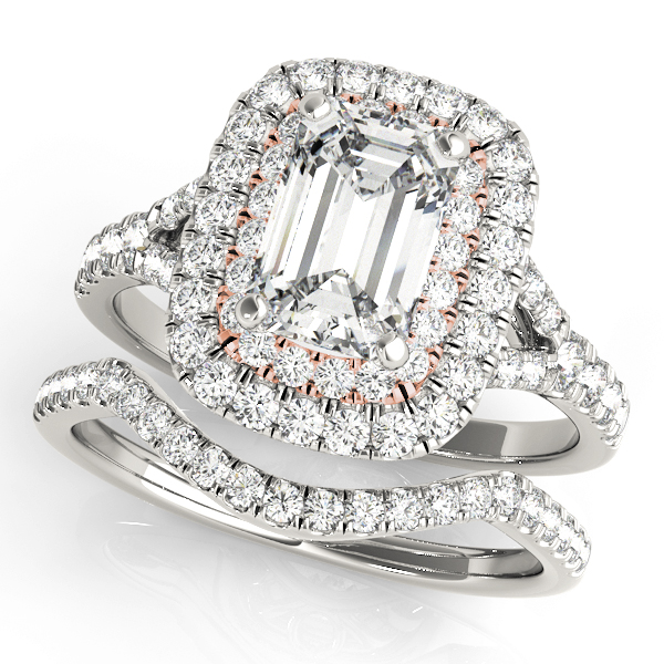Two Tone Emerald Cut Double Diamond Halo Bridal Set
