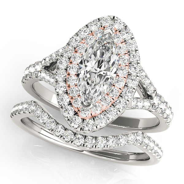 Two Tone Marquise Double Diamond Halo Bridal Set