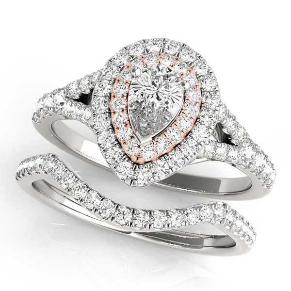 Two Tone Pear Shaped Double Diamond Halo Bridal Set