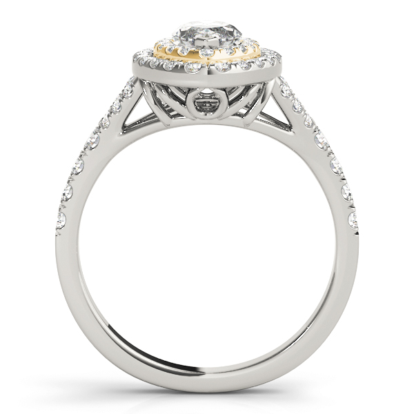 Two Tone Marquise Double Diamond Halo Engagement Ring